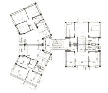 "Planta do edifício, Projecto-tipo IAIB. Olivais-Norte, Lisboa. Arquitecto João B. V. Esteves. In ""Arquitectura"" (director: Rui Mendes Paula), n.º 81, Março 1964, p. 19."